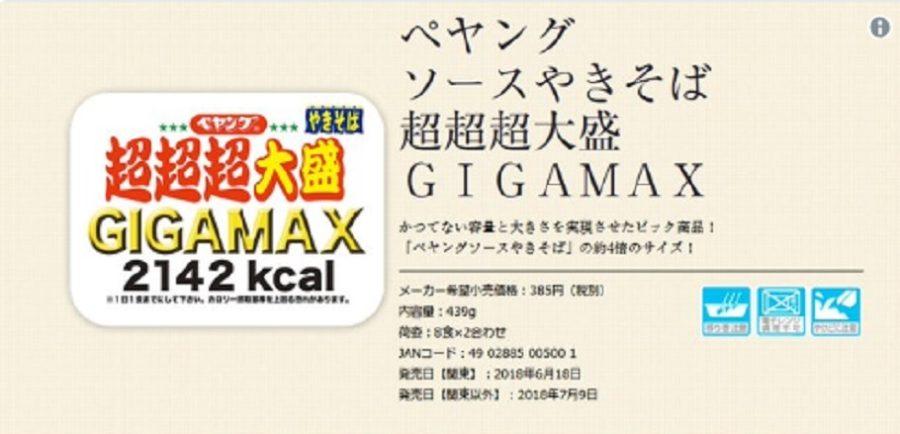 ペヤングソースやきそば 超超超大盛GIGAMAX まるか食品 発売 ネット通販